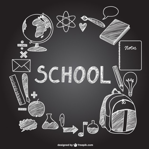 Free clipart 1st day of school black chalk board images banner library library School icons on chalkboard Vector | Free Download banner library library