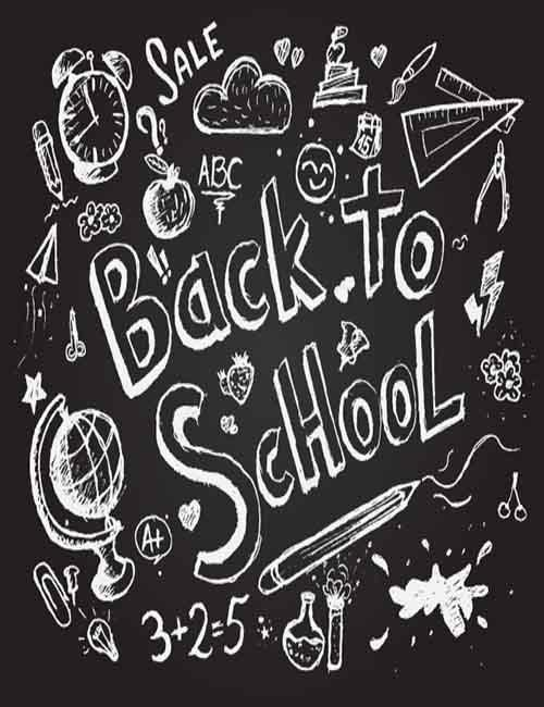 Free clipart 1st day of school black chalk board images clip art black and white library Drawn Back To School On Chalkboard Sketch Photography Backdrop J ... clip art black and white library
