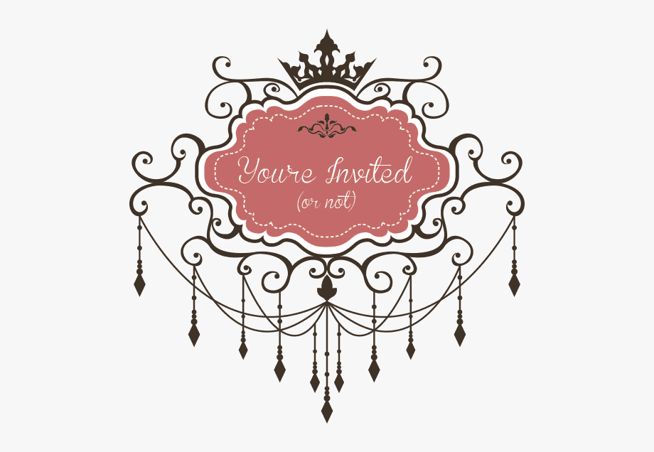 Free clipart 21 and under not allowed sign black and white library You\'re Invited - Pink Vintage Frames With Crown #436721 - Free ... black and white library