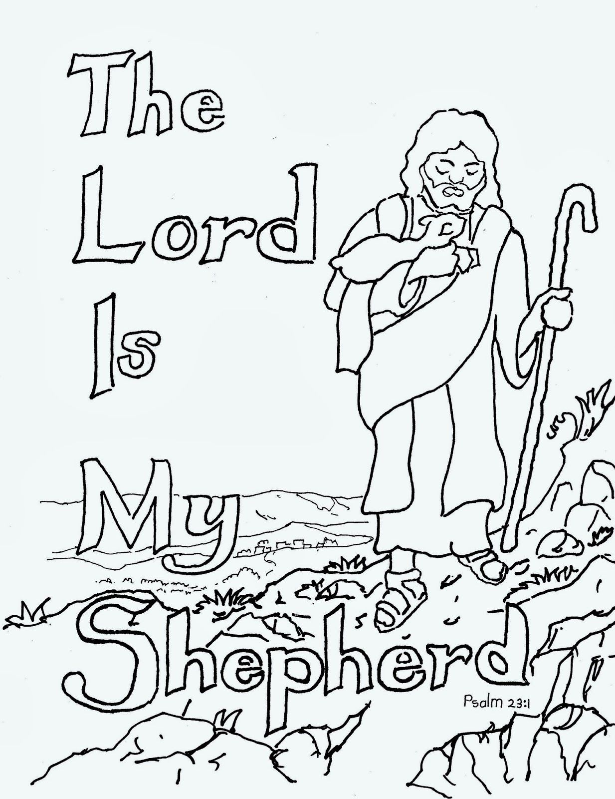 The lord is my. Free clipart 23rd psalm verse 3 coloring pages