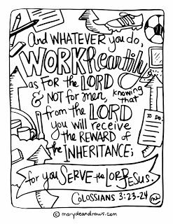 Printables marydean draws bible. Free clipart 23rd psalm verse 3 coloring pages