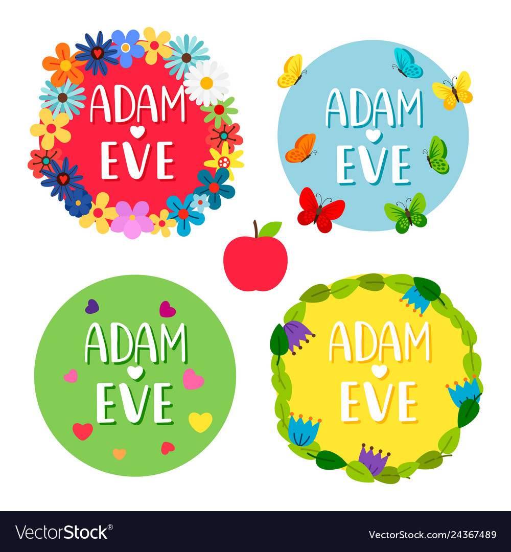 Free clipart adam and eve cast out of eden banner free library Adam and eve banners with flowers leaves vector image banner free library