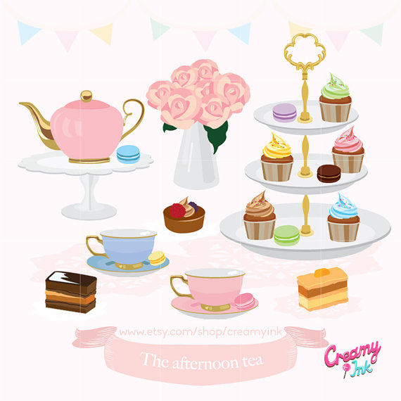 Tea party clipart banner royalty free stock Afternoon Tea Party Digital Clip Art / English High Tea Digital ... banner royalty free stock