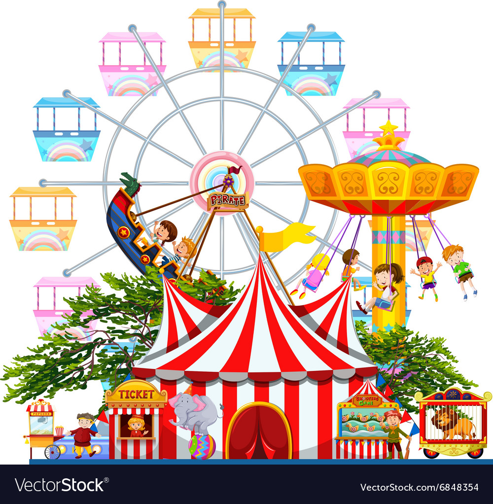 Free clipart amusement park rides. Scene with many