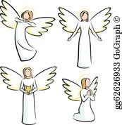 Trio of child angels clipart clipart free stock Angels Clip Art - Royalty Free - GoGraph clipart free stock
