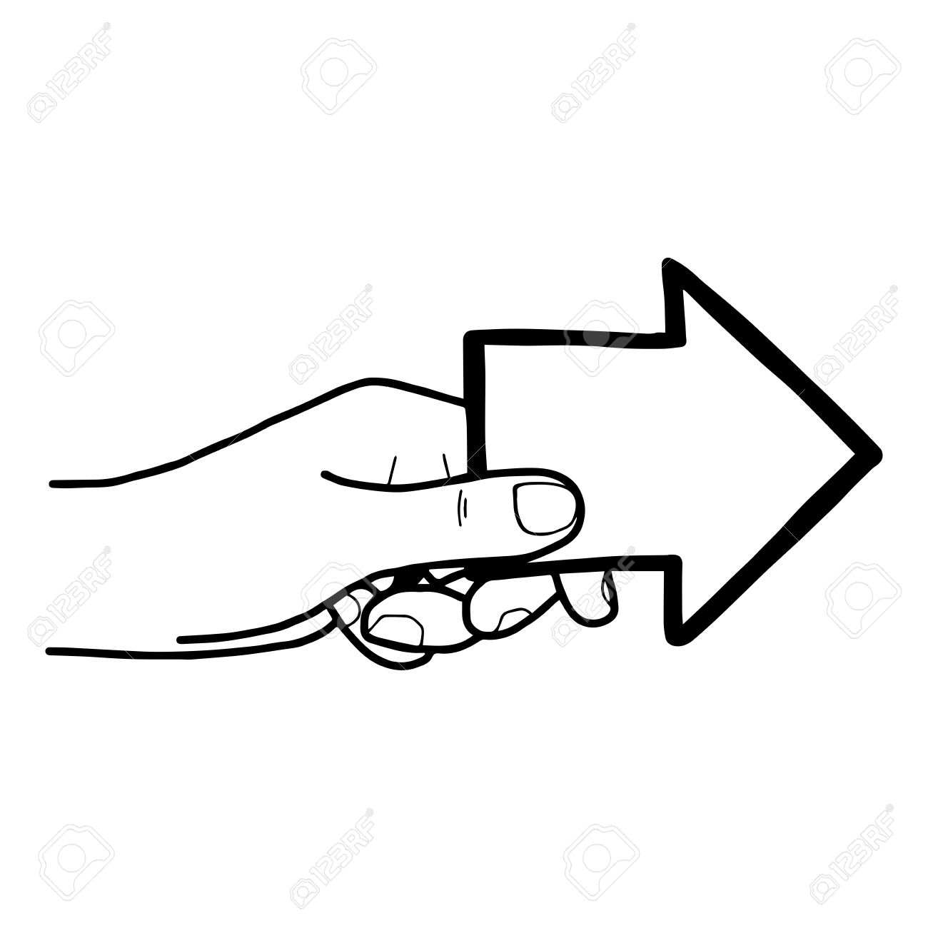 Free clipart arrow pointing left drawn free stock Illustration Vector Doodle Hand Drawn Of Left Hands Holding Arrow ... free stock