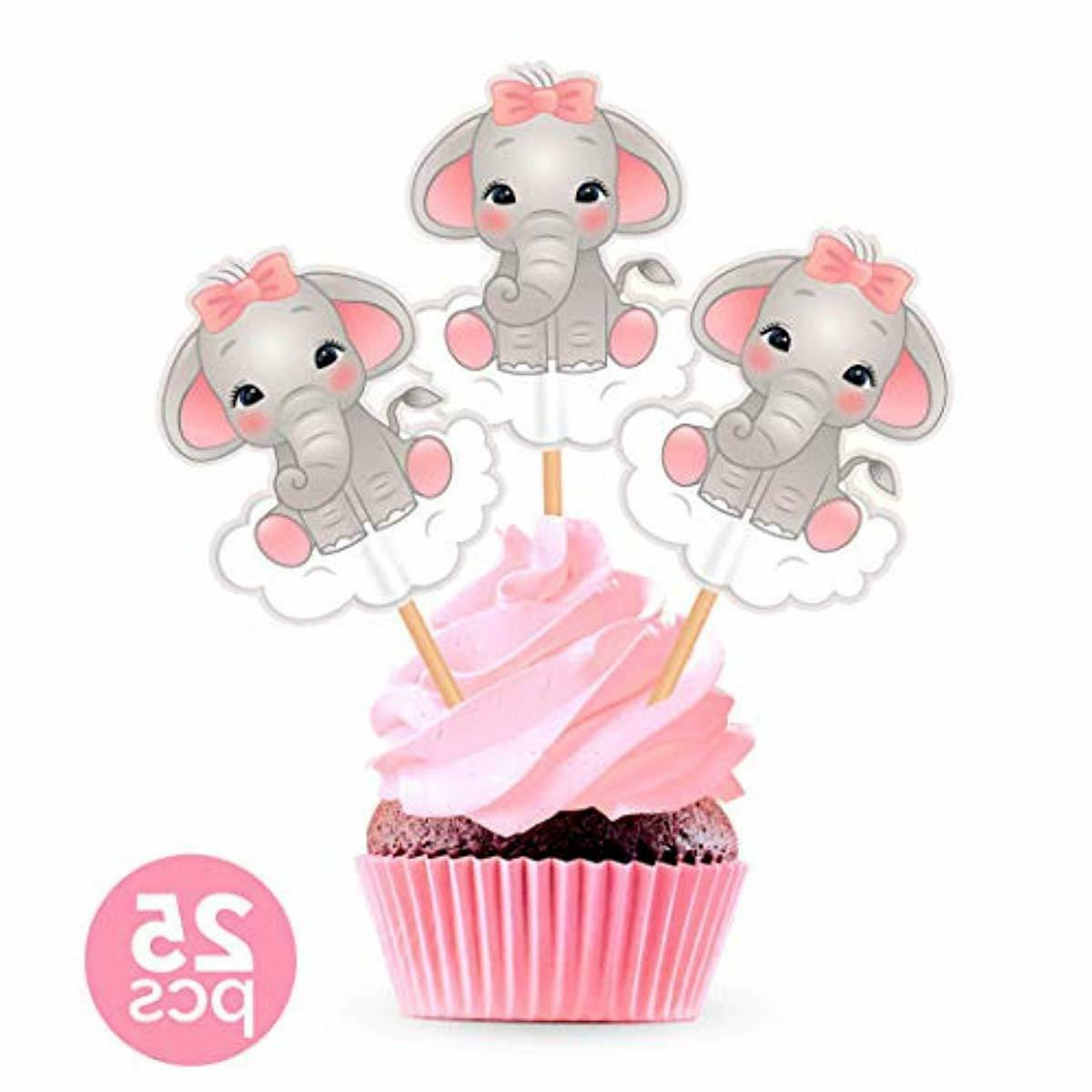Free clipart baby pink elephants for cupcake toppers jpg freeuse download Pink Elephant Cupcake Toppers Cake Picks - Girl Baby Shower Decorations  Supplies jpg freeuse download
