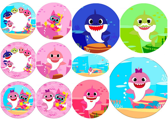 Free clipart baby pink elephants for cupcake toppers clip library library Baby Shark Party: Free Printable Cupcake Toppers. | Oh My Baby! clip library library