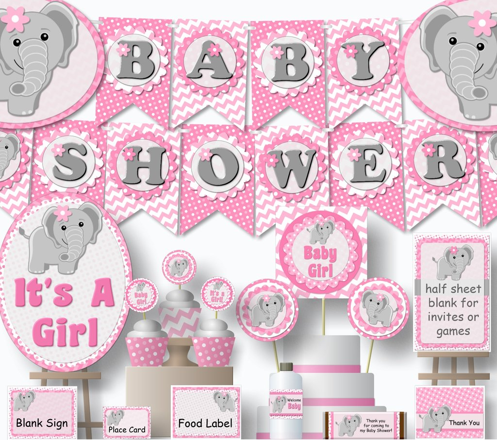 Free clipart baby pink elephants for cupcake toppers image stock PDF Elephant Baby Shower or Birthday Decorations - Banner, Invitations,  Cake Topper, Centerpiece, Cupcakes - diy, printable image stock