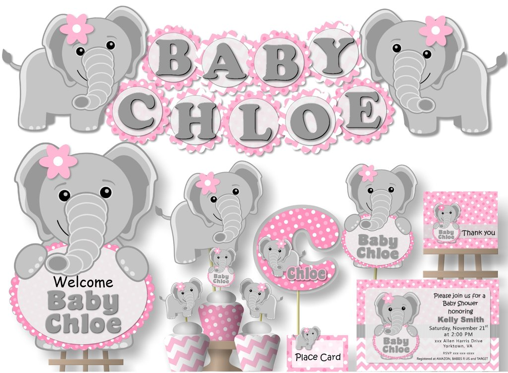 Free clipart baby pink elephants for cupcake toppers png freeuse library Pink Elephant Baby Shower or Birthday Party Decorations - 10 - 4 inch  Scallop Banner \'BABY NAME\' or \'NAME IS #\' png freeuse library