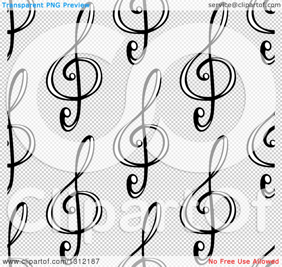 Free clipart background patterns music notes banner black and white stock Clipart of a Seamless Background Pattern of Black and White Music ... banner black and white stock
