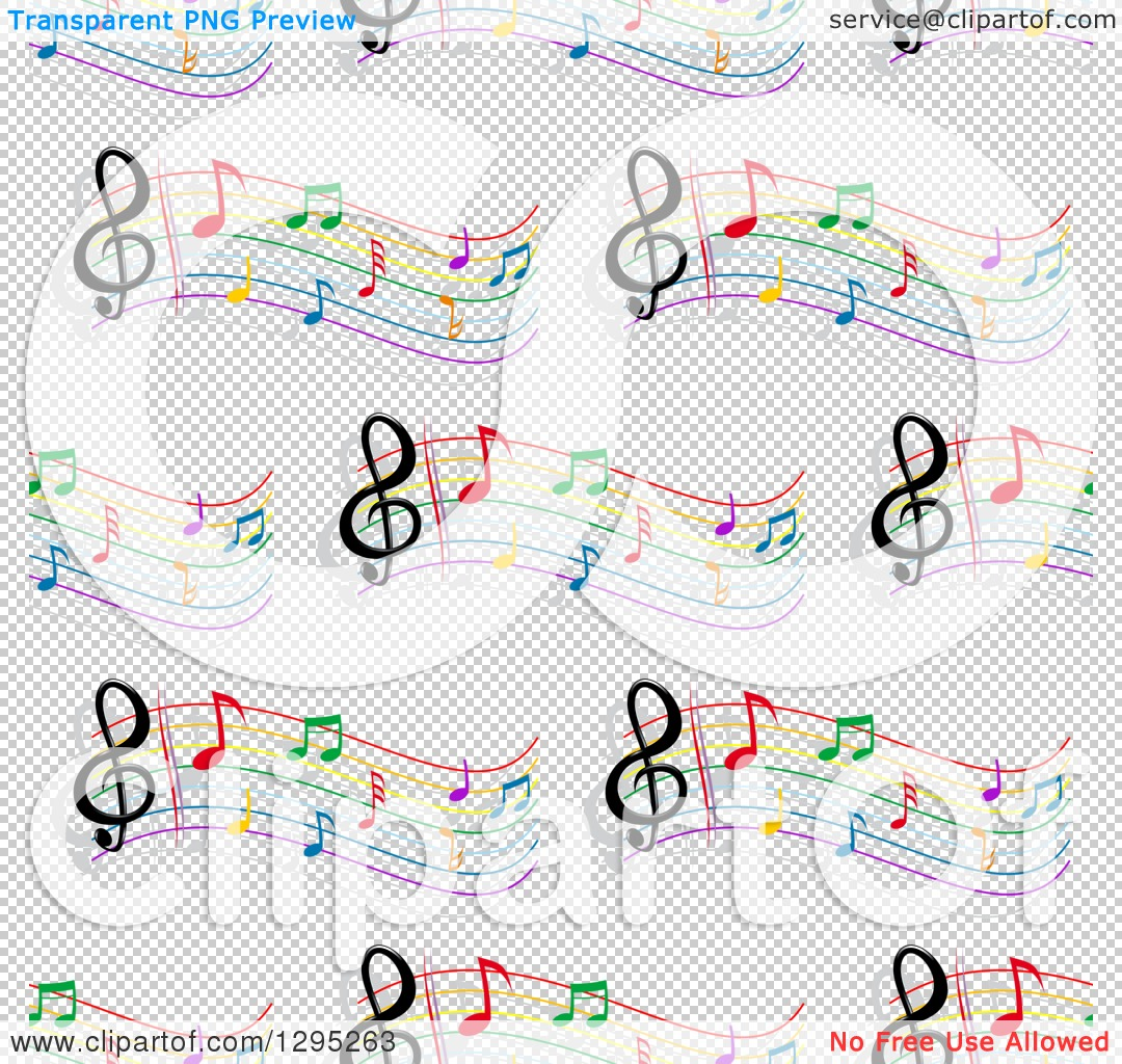 Free clipart background patterns music notes clip stock Clipart of a Seamless Background Pattern of Colorful Staffs and ... clip stock
