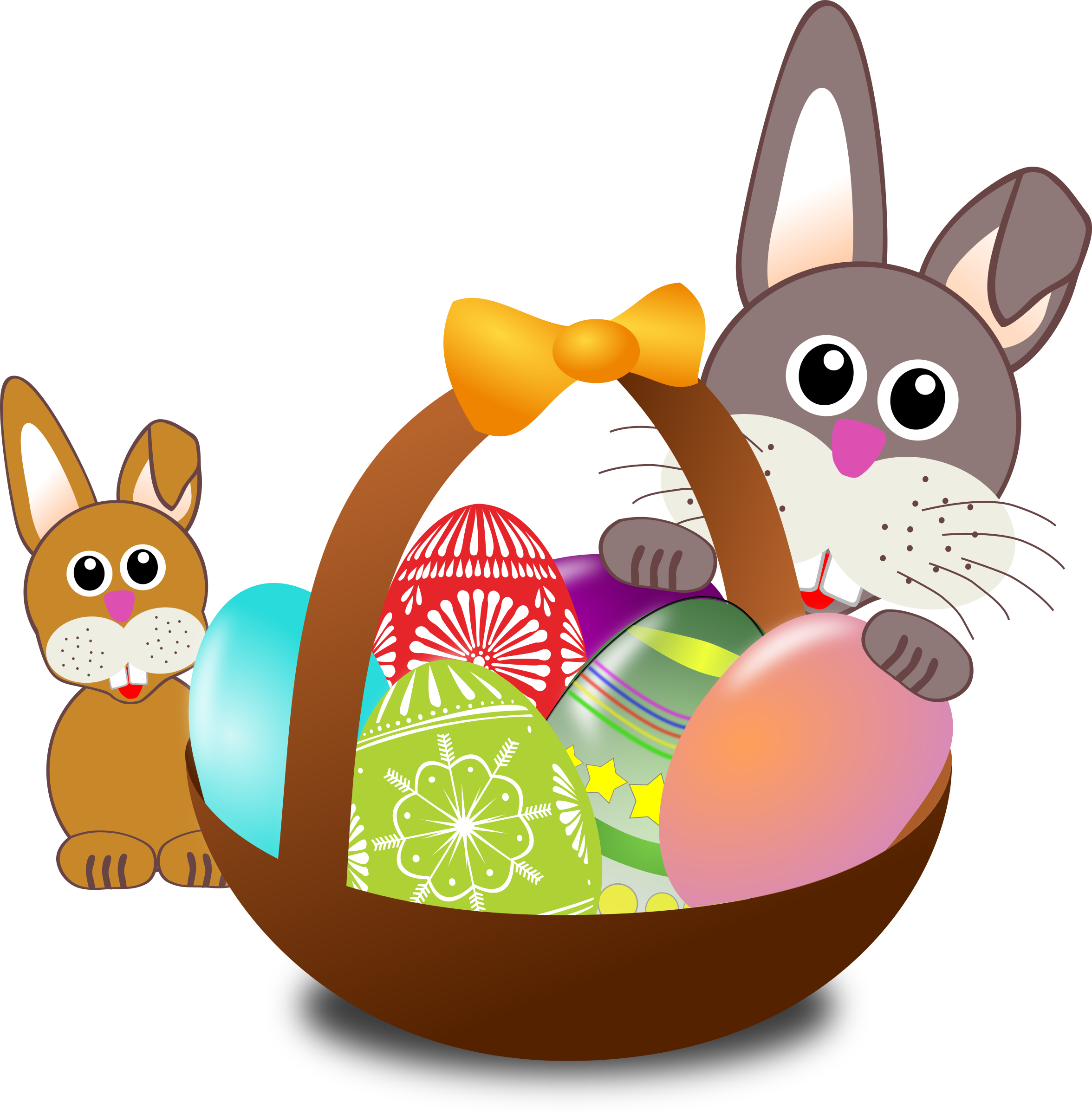 Free clipart basketball funny image Clipart - Funny bunny face with Easter eggs in a basket with baby rabbit image