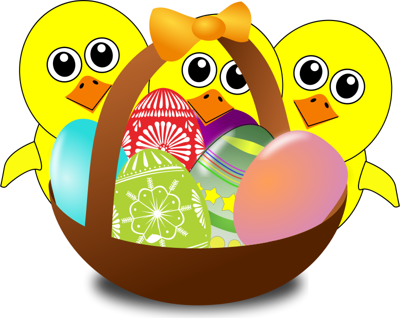 Free clipart basketball funny vector transparent stock Free Clipart: Funny Chicks Cartoon with Easter eggs in a basket ... vector transparent stock