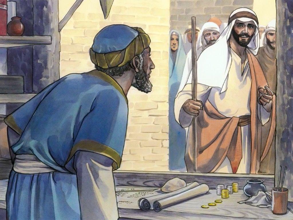 Free clipart bible jesus foretells his death jpg royalty free stock Free Bible Visuals: Jesus calls Matthew: When Jesus asks a tax ... jpg royalty free stock