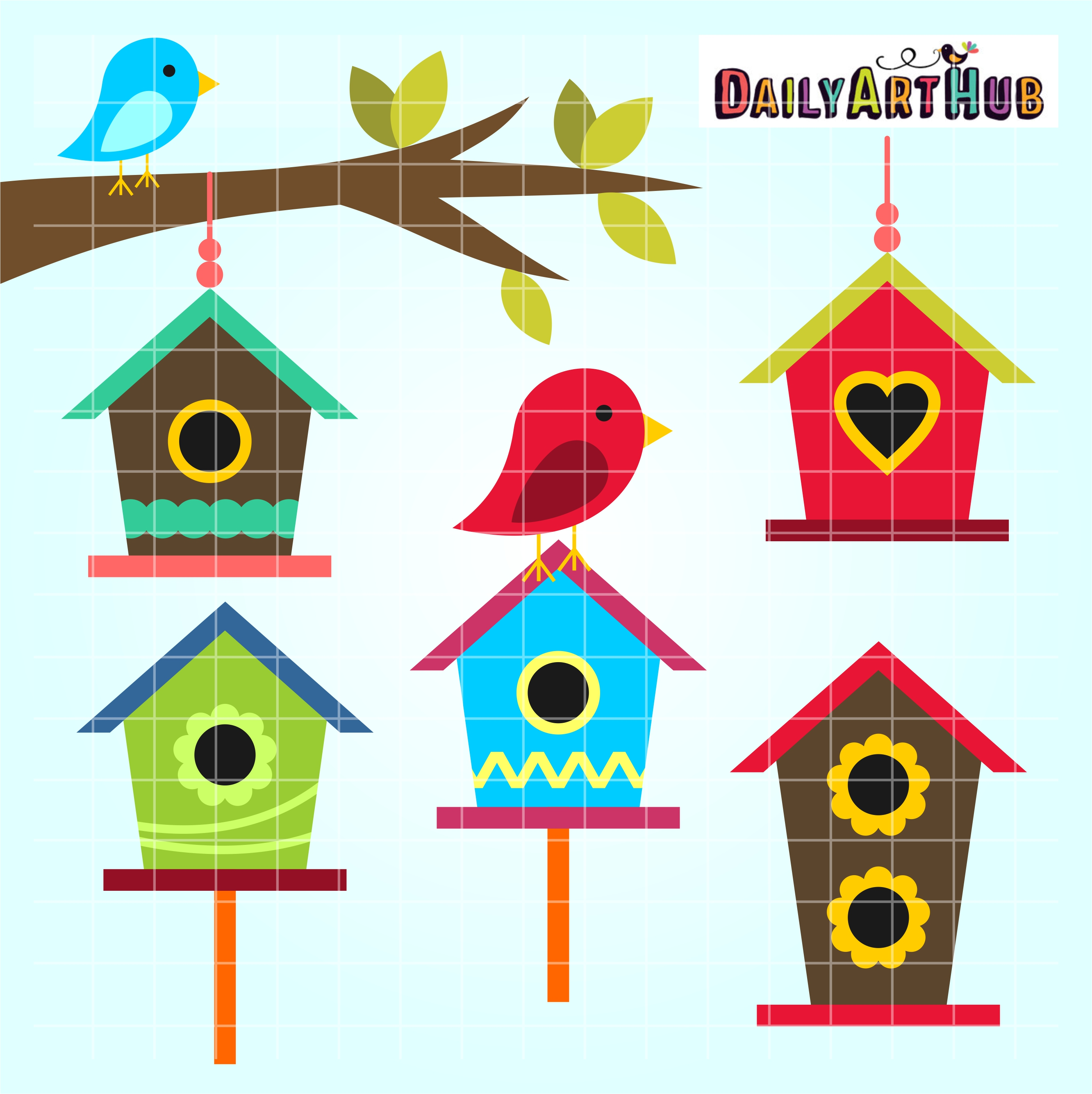 Free clipart bird houses image royalty free Bird Houses Clip Art Set image royalty free