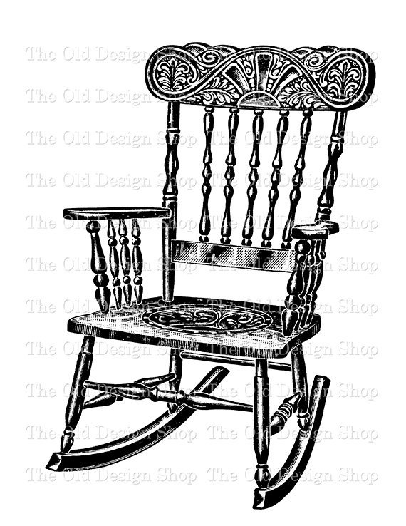 Old woman clipart black and white rocker clip free stock Vintage Rocking Chair Clip Art Illustration Digital Stamp Transfer ... clip free stock