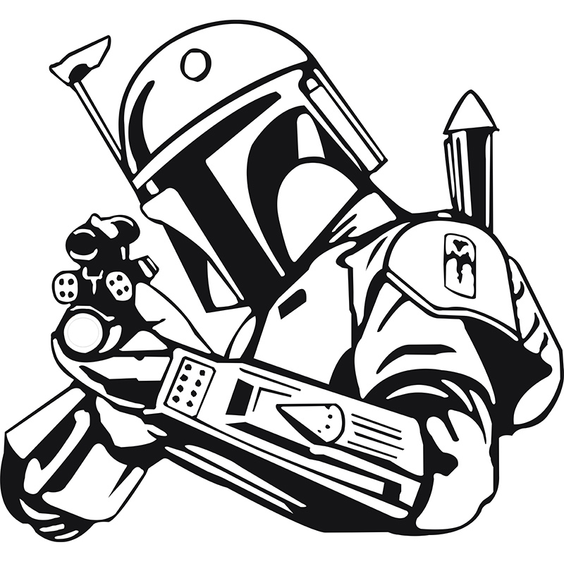 Free clipart black and white bounty hunter svg download Download star wars boba fett decals clipart Boba Fett Star Wars ... svg download