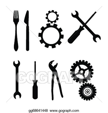 Gear clipart vector wrench free to use banner library Vector Clipart - Cogs, gears, screwdriver, pincers, spanner, hand ... banner library