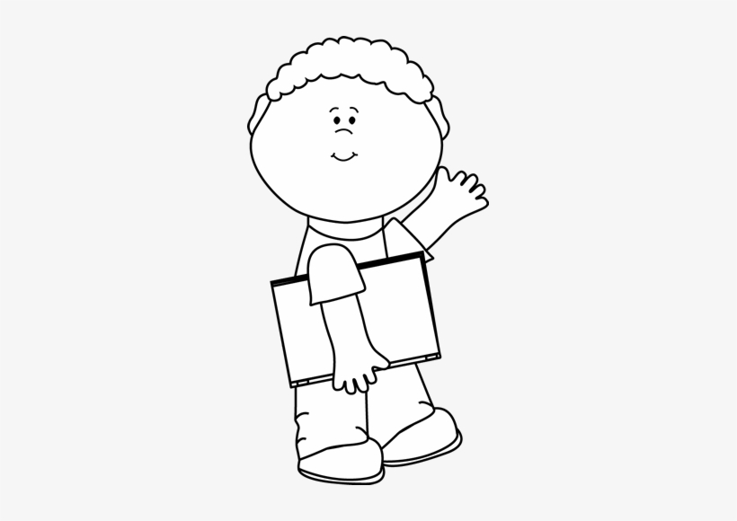 Free clipart black and white for boys. Boy carrying book waving