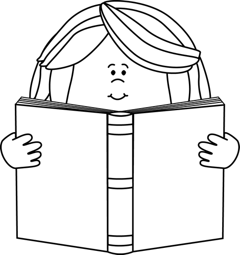 Clip art images . Free clipart black and white little girl reading book
