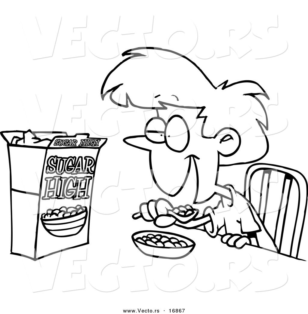 Free clipart black and white outline breakfast banner transparent drawings of kids eating breakfast | Eat Breakfast Cartoon | craft ... banner transparent