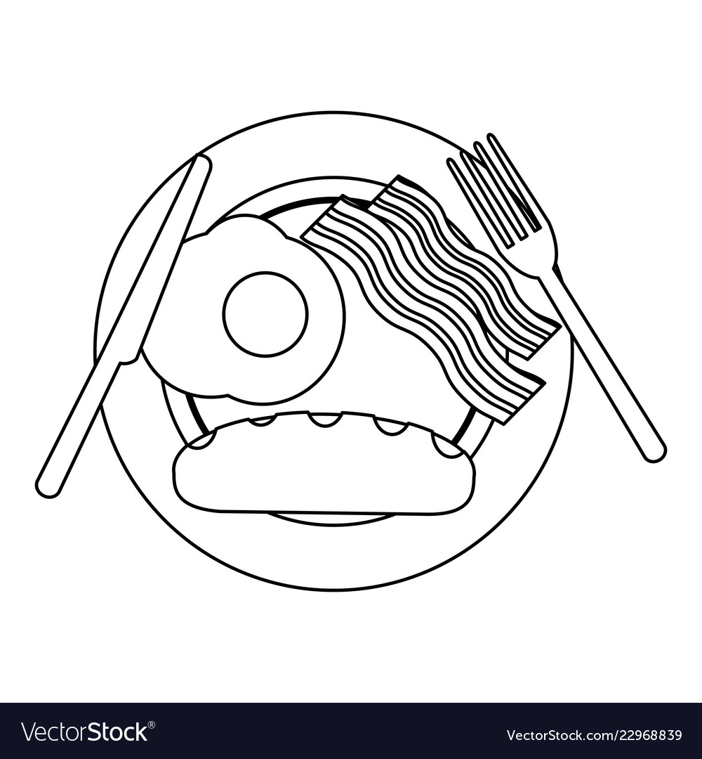 Free clipart black and white outline breakfast png freeuse download American breakfast on dish black and white png freeuse download