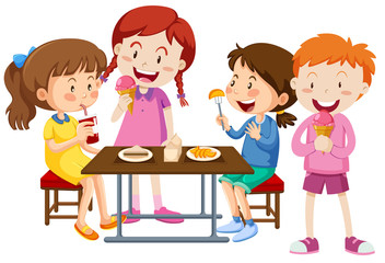Free clipart black and white outline kid eating supper transparent Cartoon Kids Eating Lunch photos, royalty-free images, graphics ... transparent