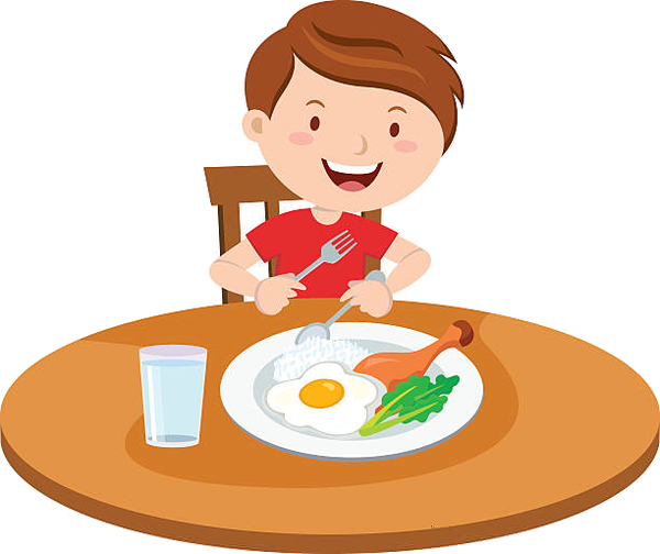 Free clipart black and white outline kid eating supper clip transparent stock Eating Kid Breakfast Clipart Free Images At Vector Png - AZPng clip transparent stock