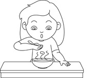 Free clipart black and white outline kid eating supper png black and white stock Free Black and White Food Outline Clipart - Clip Art Pictures ... png black and white stock