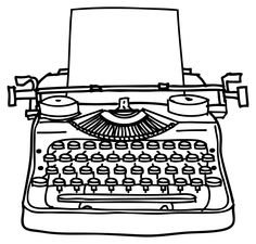 Free clipart black and white typewriter with paper jpg free stock Typewriter Clipart | Free download best Typewriter Clipart on ... jpg free stock
