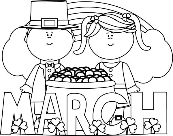 Free clipart blackline st patrick s day. Patricks black and white