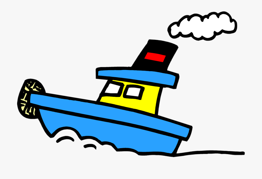 Tugboat on water clipart