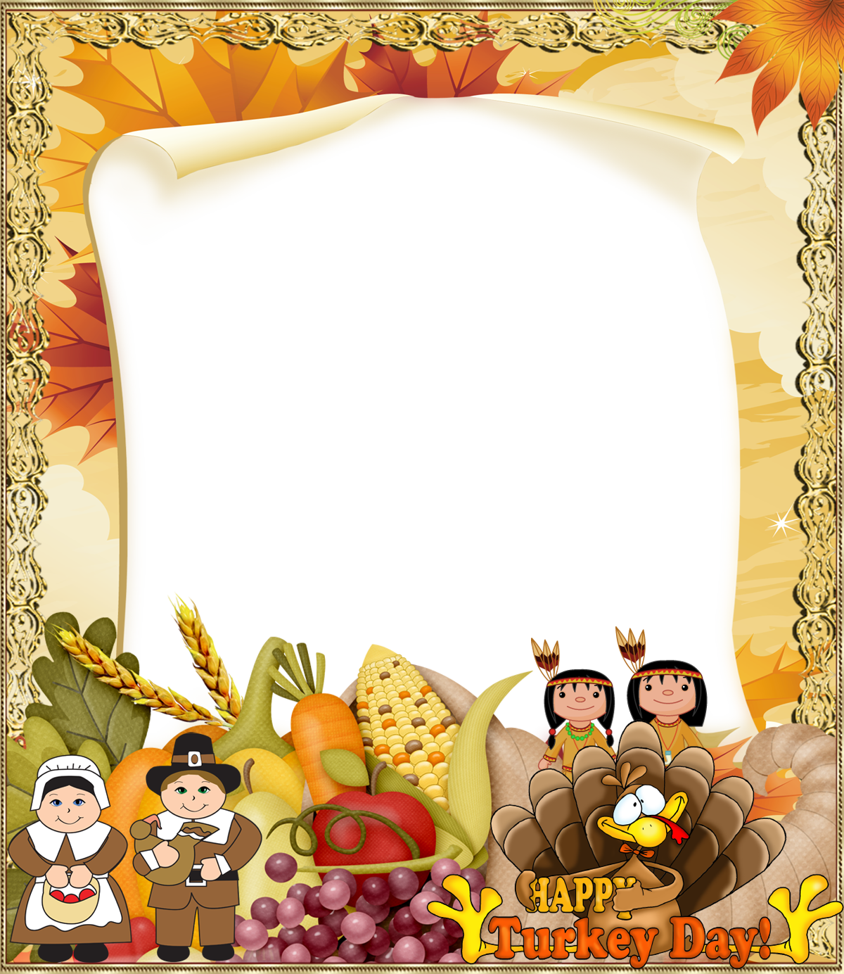 Free clipart thanksgiving borders png free Thanksgiving PNG Photo Frame | Gallery Yopriceville - High-Quality ... png free