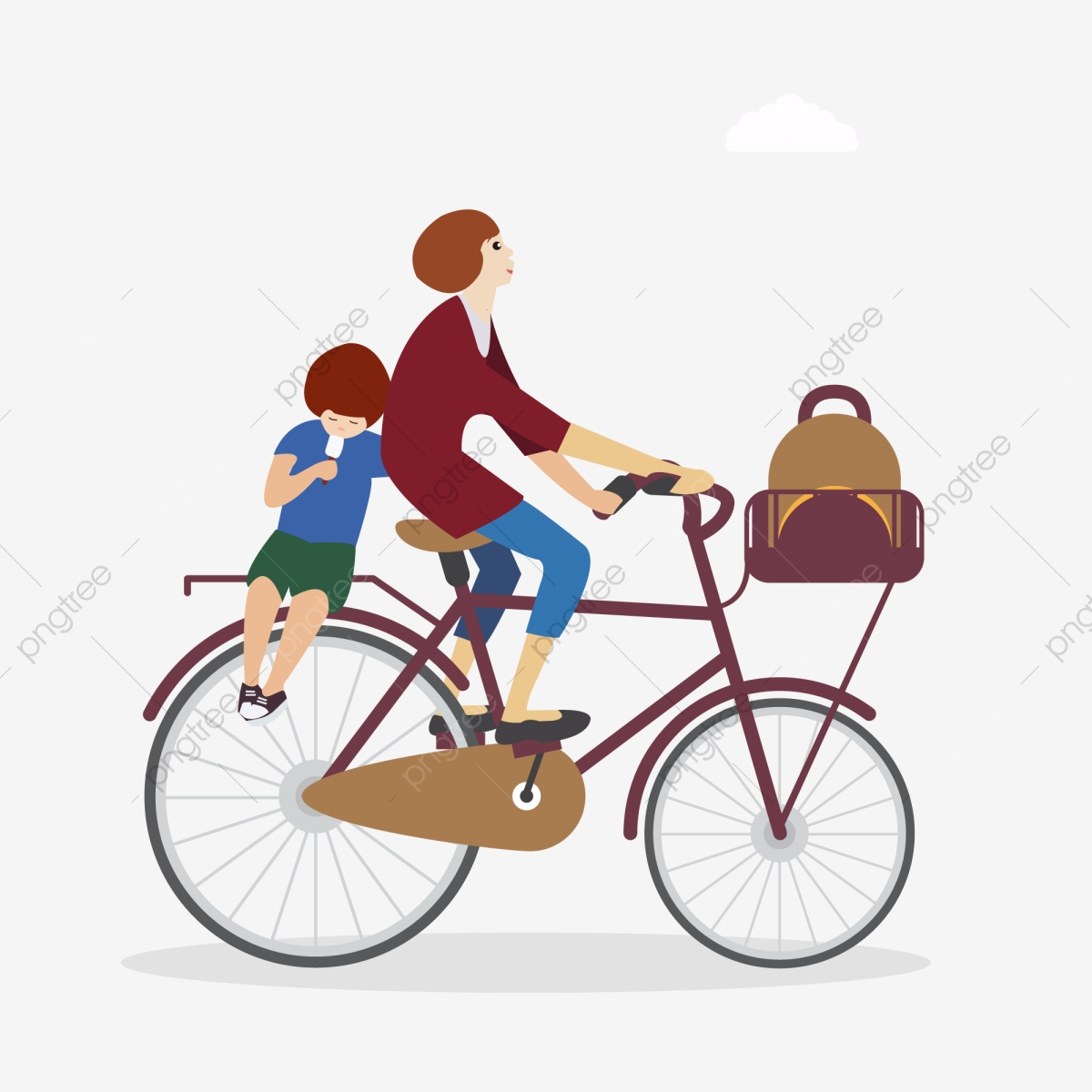 Free clipart boy riding bike with mom. Starting school cycling little