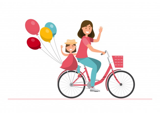 Happy family father mother. Free clipart boy riding bike with mom