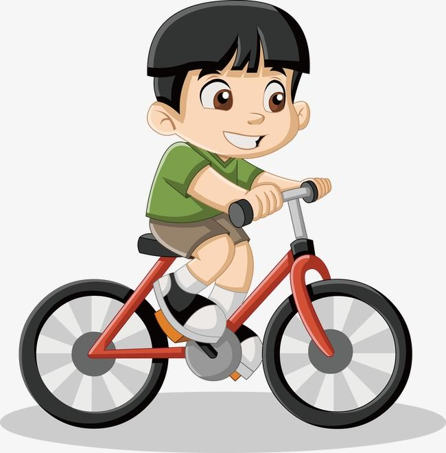Little a vector . Free clipart boy riding bike with mom