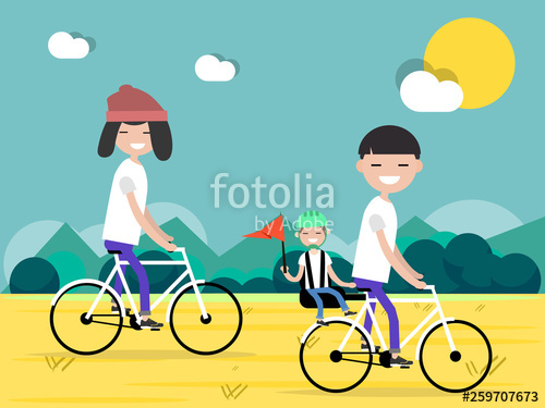 Free clipart boy riding bike with mom. Active family vacation dad