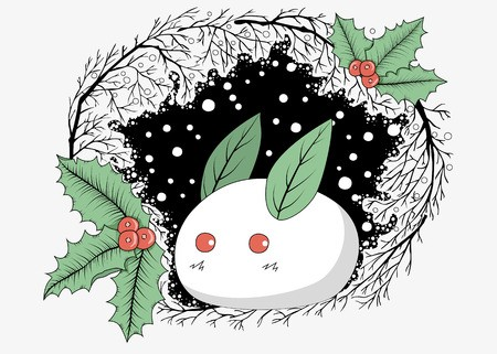 Free clipart branches with snow on them holly image freeuse stock A cute white rabbit made of snow with leaves and holly berries ... image freeuse stock