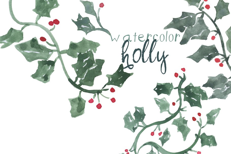 Free clipart branches with snow on them holly clip art transparent Watercolor Holly Leaves clip art transparent