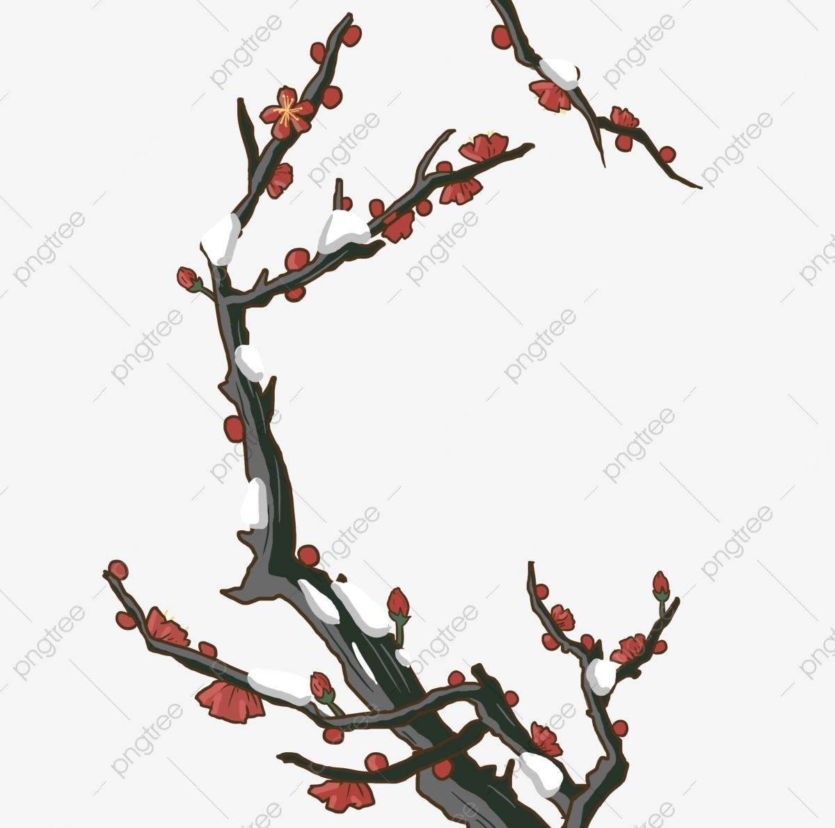 Free clipart branches with snow on them holly. Hand painted red plum