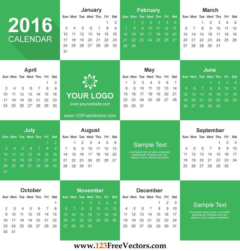 Free clipart calendar 2016 vector free Free Calendar 2016 Download | Download Free Vector Art | Free-Vectors vector free