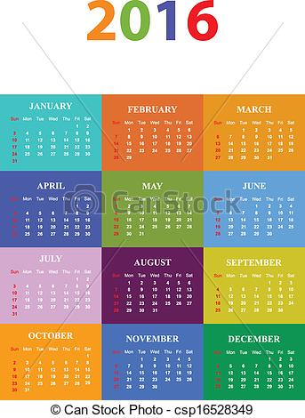 Free clipart calendar 2016 svg transparent stock EPS Vector of 2016 Seasonal Calendar Vector Illustration ... svg transparent stock