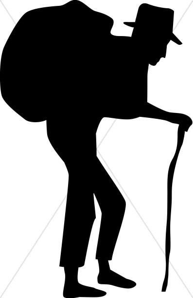 Free clipart carrying a heavy load bible scenes picture black and white Old Man with Burden Silhouette | Human Suffering Clipart picture black and white