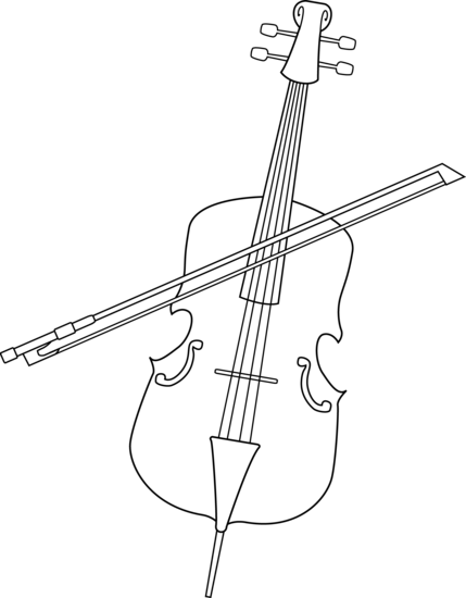 Free clipart cello graphic free Elegant Cello Line Art - Free Clip Art graphic free
