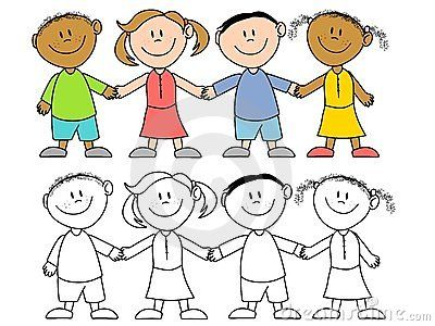 Kids library images . Free clipart children holding hands