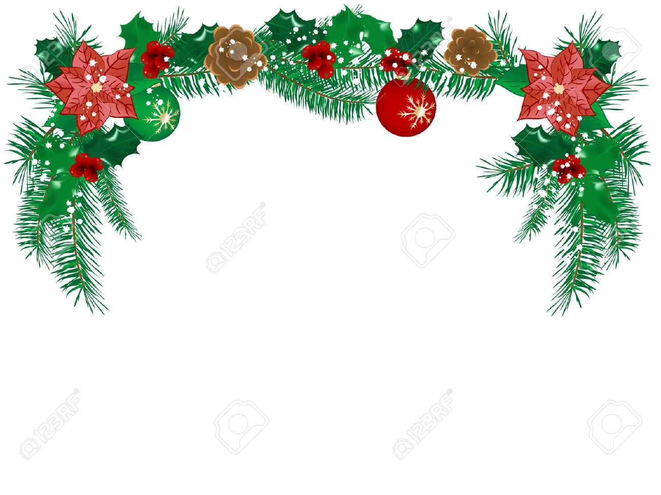 Free clipart christmas flowers royalty free Christmas Flower Garland - Vector Illustration Royalty Free ... royalty free