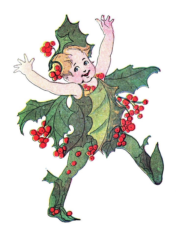 Free clipart christmas flowers free Free Vintage Clip Art - Flower Fairies - Christmas - The Graphics ... free