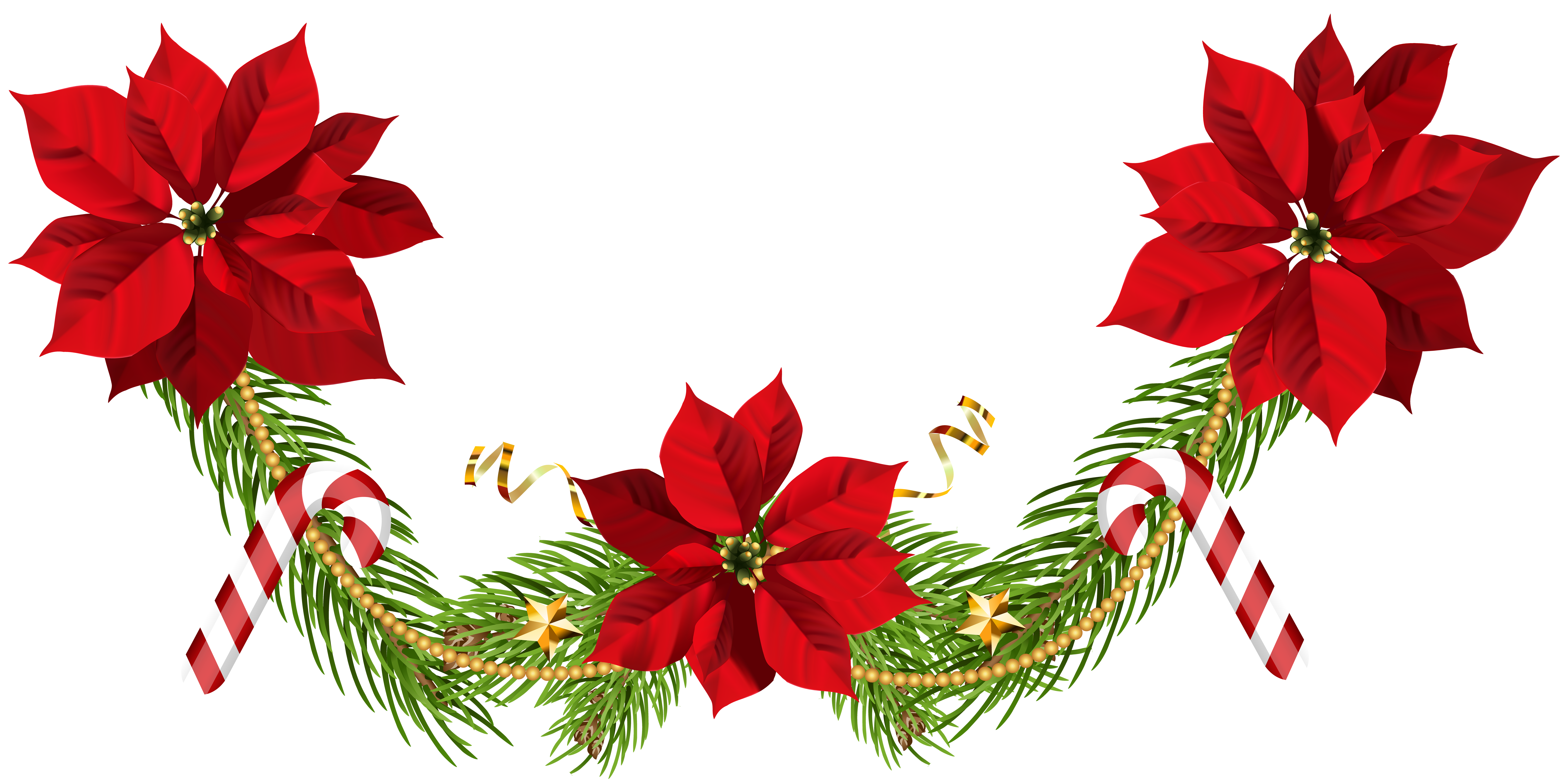 Free clipart christmas flowers clipart royalty free stock Christmas Poinsettias Garland Clip Art PNG Image | Gallery ... clipart royalty free stock