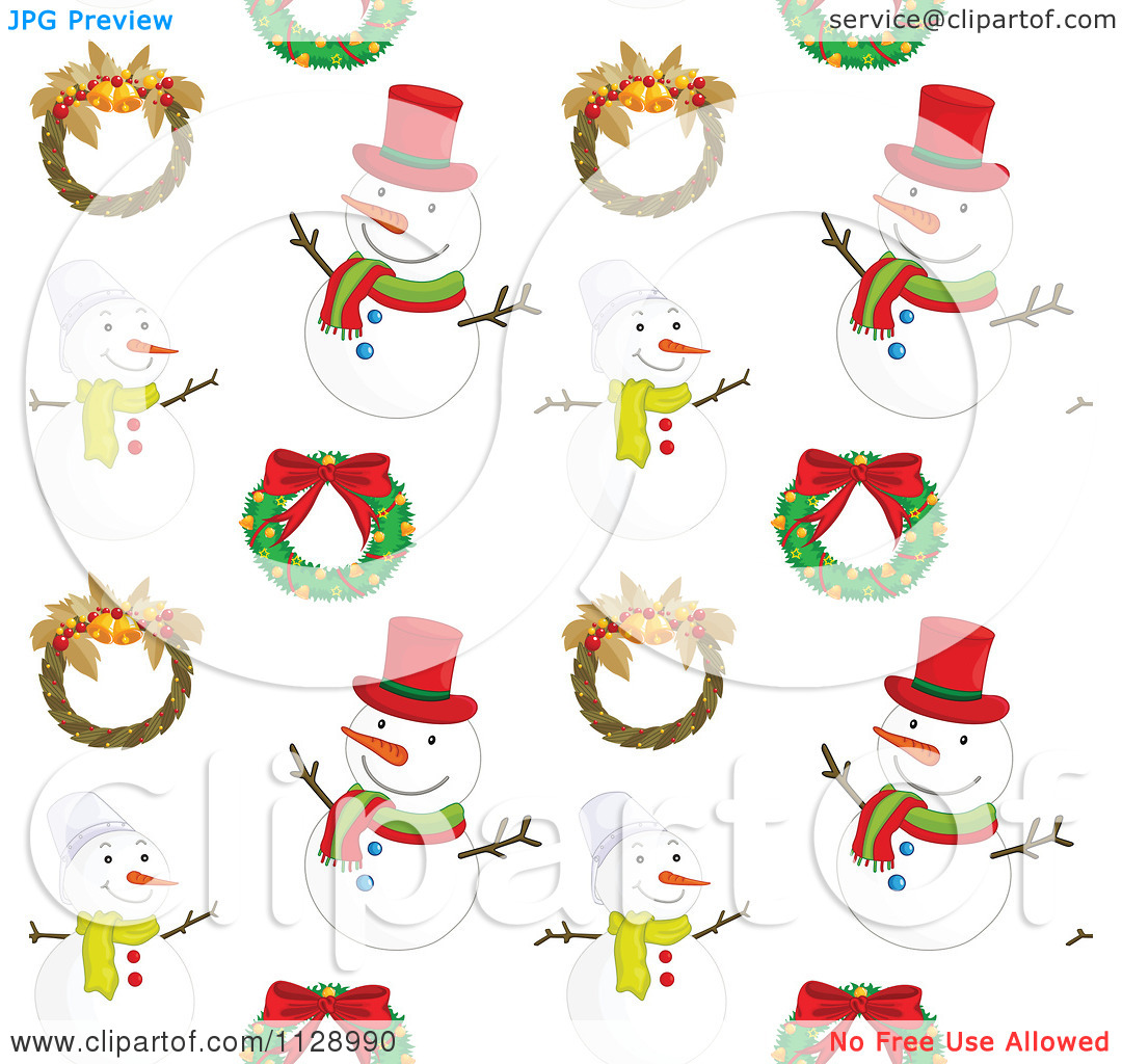 Free clipart christmas patterns clip free Cartoon Of A Seamless Christmas Snowman Background Pattern 2 ... clip free